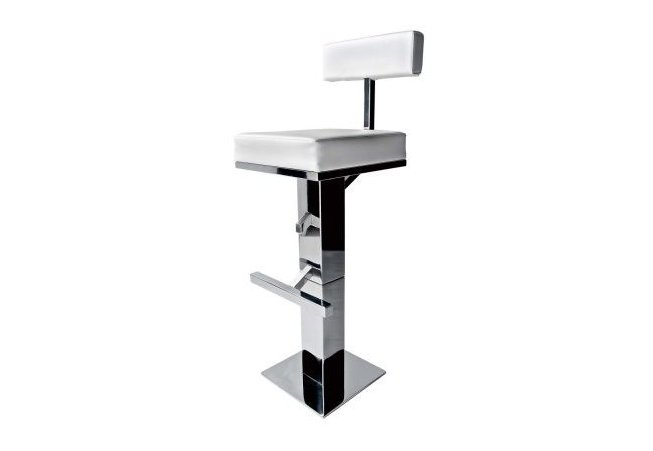 Square bar stool in stainless